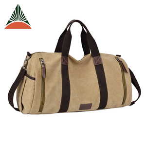 Solid Zipper Sport PU Leather Cotton Weekender Travel Duffle Canvas Bag