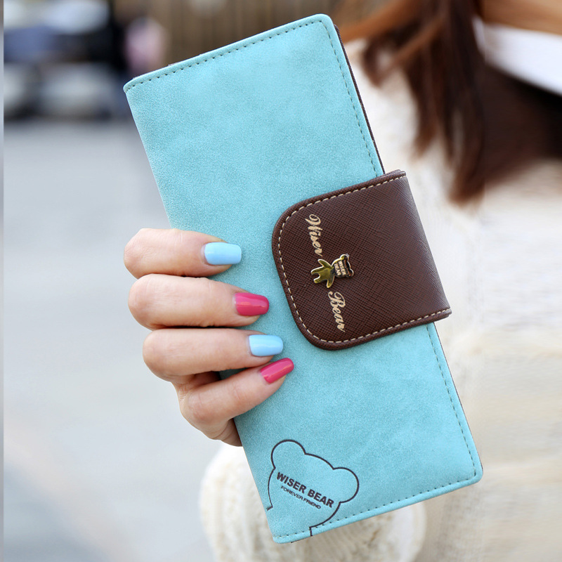 guangzhou market wholesale new style women long wallets with bear pattern wallet leather lady