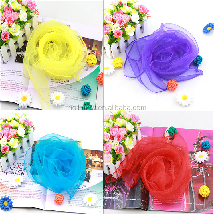 40cm*40cm Small Size Plain Candy Color Organza Juggling Scarf
