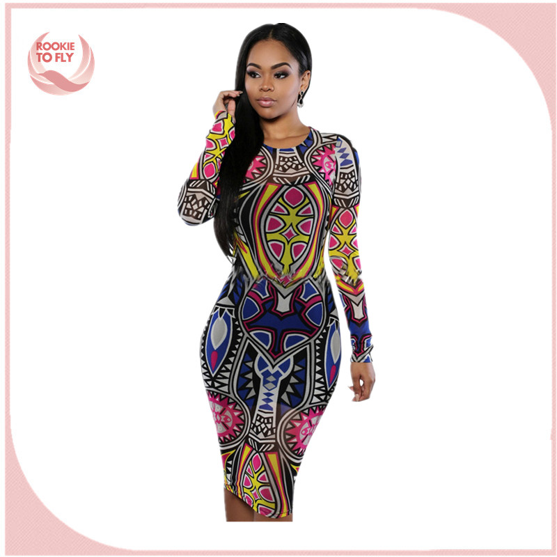 2017 women African print <strong>dresses</strong> Vestidos Ladies Sexy Slim Printed Long Sleeve Bodycon <strong>Dress</strong>