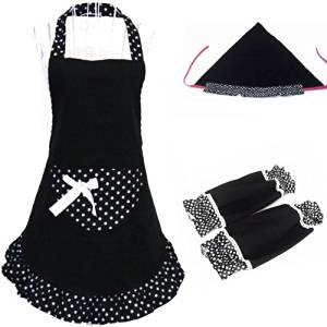 Tinksky Fashion Dots Pattern Halter-neck Sleeveless Cotton Cloth Apron Kitchen Apron with Over Sleeves Headscarf (Black)