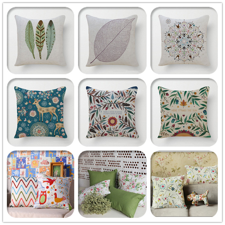 Hot sale linen sofa chair cushion cover hand embroidery design pillow case pillow cover Series Home