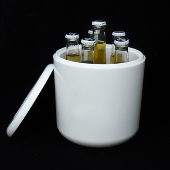 OEM round double wall 4L PS plastic  beer ice bucket with lid
