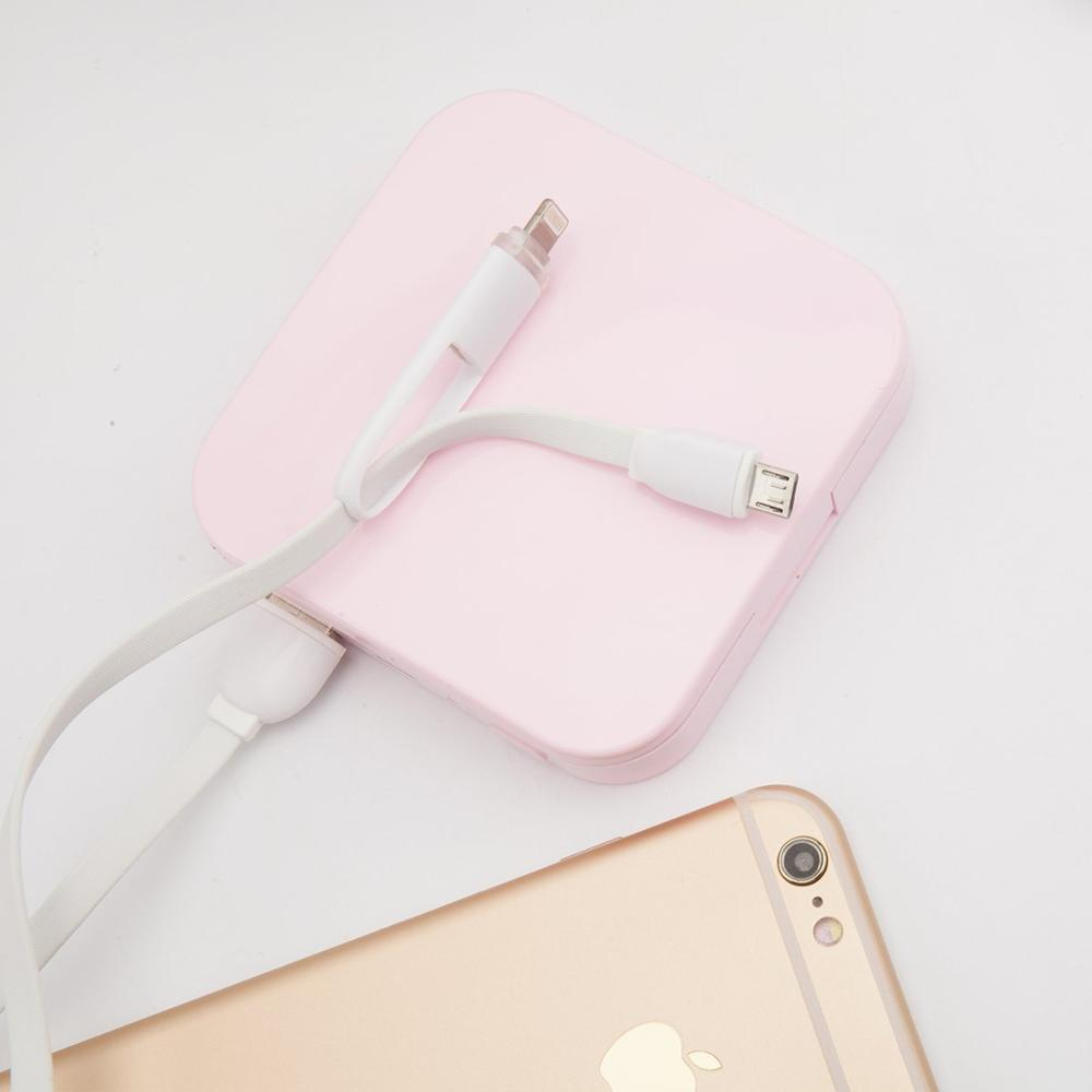 Portable power Bank and LED Folding Cosmetic Mirror 2 in 1 Pocket Charger For smart phone