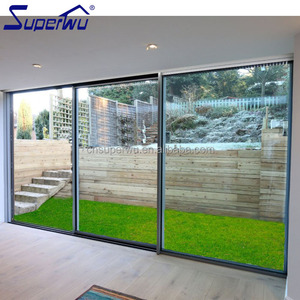 Wind powder 3 track glass aluminum sliding door used in home