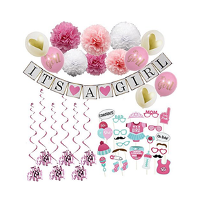 Baby Shower Decorations for Girl - Includes matching Its A Girl Banner Balloons Cute Photo Booth Props Pink White Flower Decor