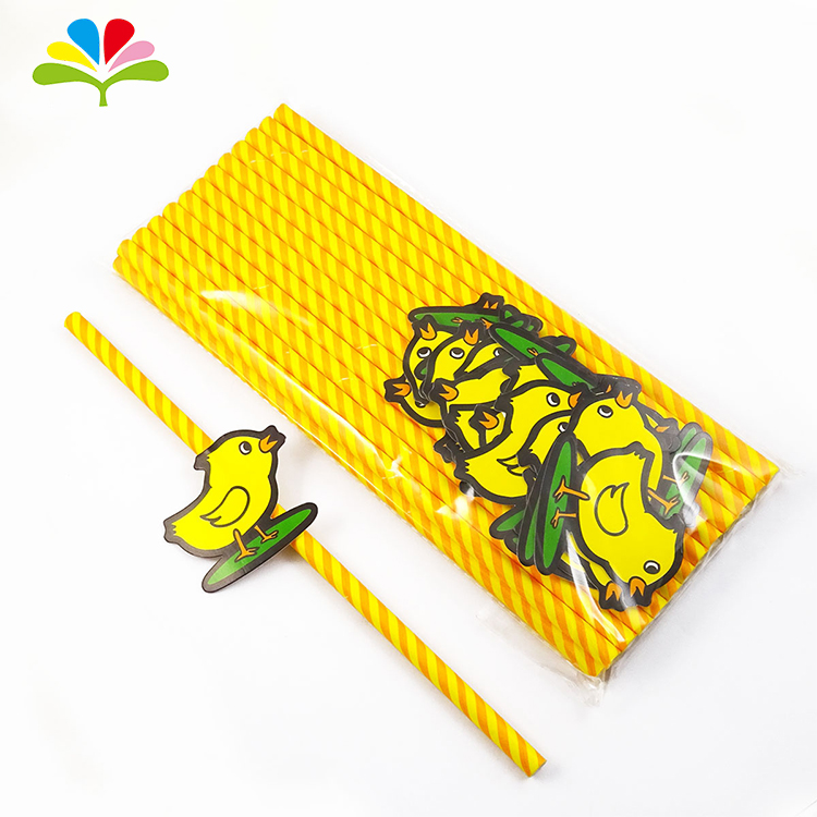 Factory Price Little Yellow Chicken Disposable Wrapper Drinking Paper Straws