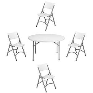 Get Quotations · Round Folding Table With 4 Dining Chairs For Indoor And  Outdoor Use, For Parties,