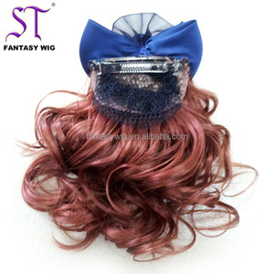 2018 New Synthetic Wig Red Brown Curly Hair Woman Ponytail With Metal Clip And Bow Hair
