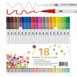 Set of 24 Color Soft Flexible Real Brush Tip Water Marker+1 water pen watercolour pen set for art drawing