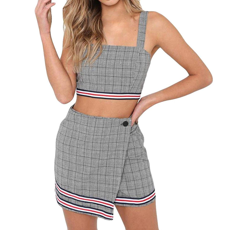 803fe6a67e Get Quotations · Gyoume Women 2Pcs Sexy Dress Set Mini Skirt Striped Plaid  Crop Top A-Line Skirt
