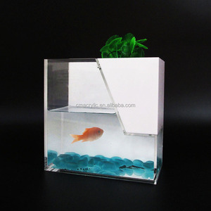 Fashionable small desk acrylic aquarium with removable structure