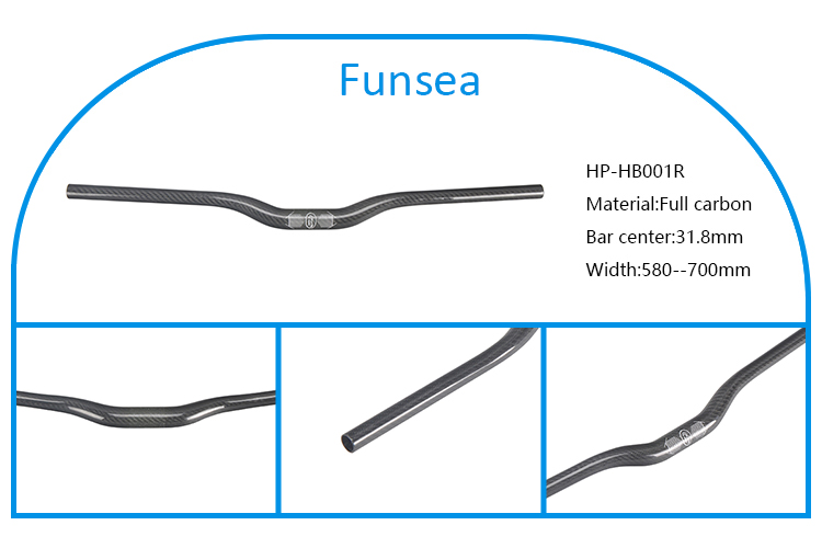 Funsea chinese bicycle manufacturer wholesale mountain bike handlebar full carbon fiber handlebar mtb bicycle HP-HB001R
