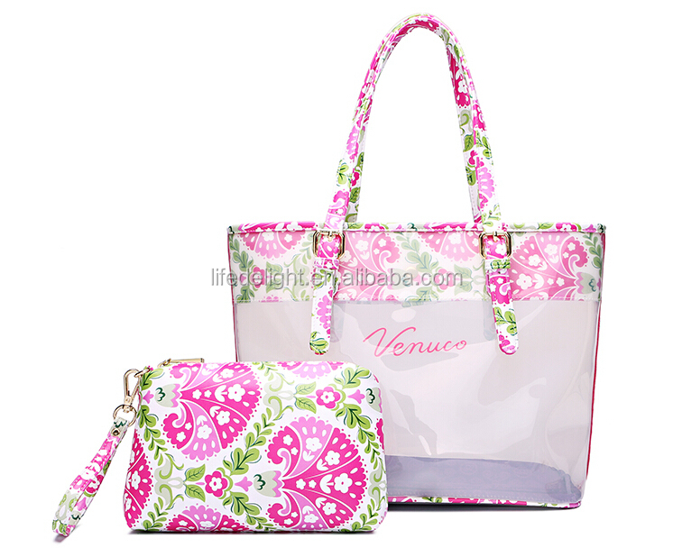 shenzhen factory New design pvc EVA pink flower printed waterproof hand bags set large and small for women make up tote bag