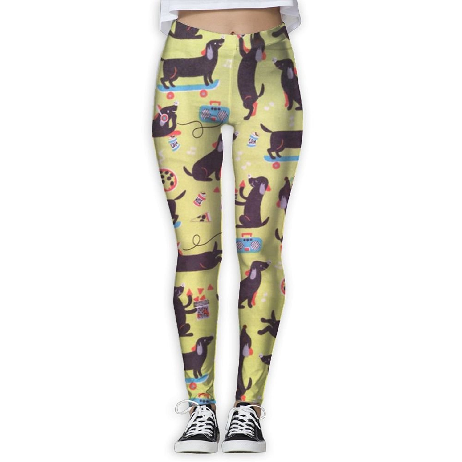 ba1c4adf7d306 Get Quotations · Virgo Sausage Dog Dachshund Cool Compression Pants/Yoga  Pants Workout Leggings Women Girl Tall