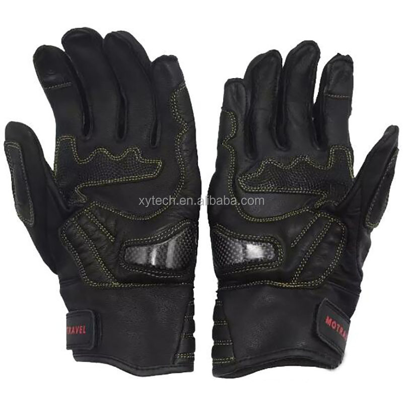 Goat Leather Motorcycle Racing Gloves Motocross Full Finger Glove Metal Protector Touch Screen Glove
