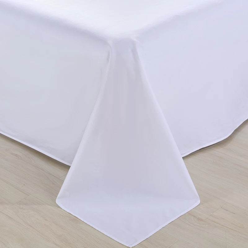 Cheap Wholesale Embroidered Plain White 100% Cotton Single Bed Sheet