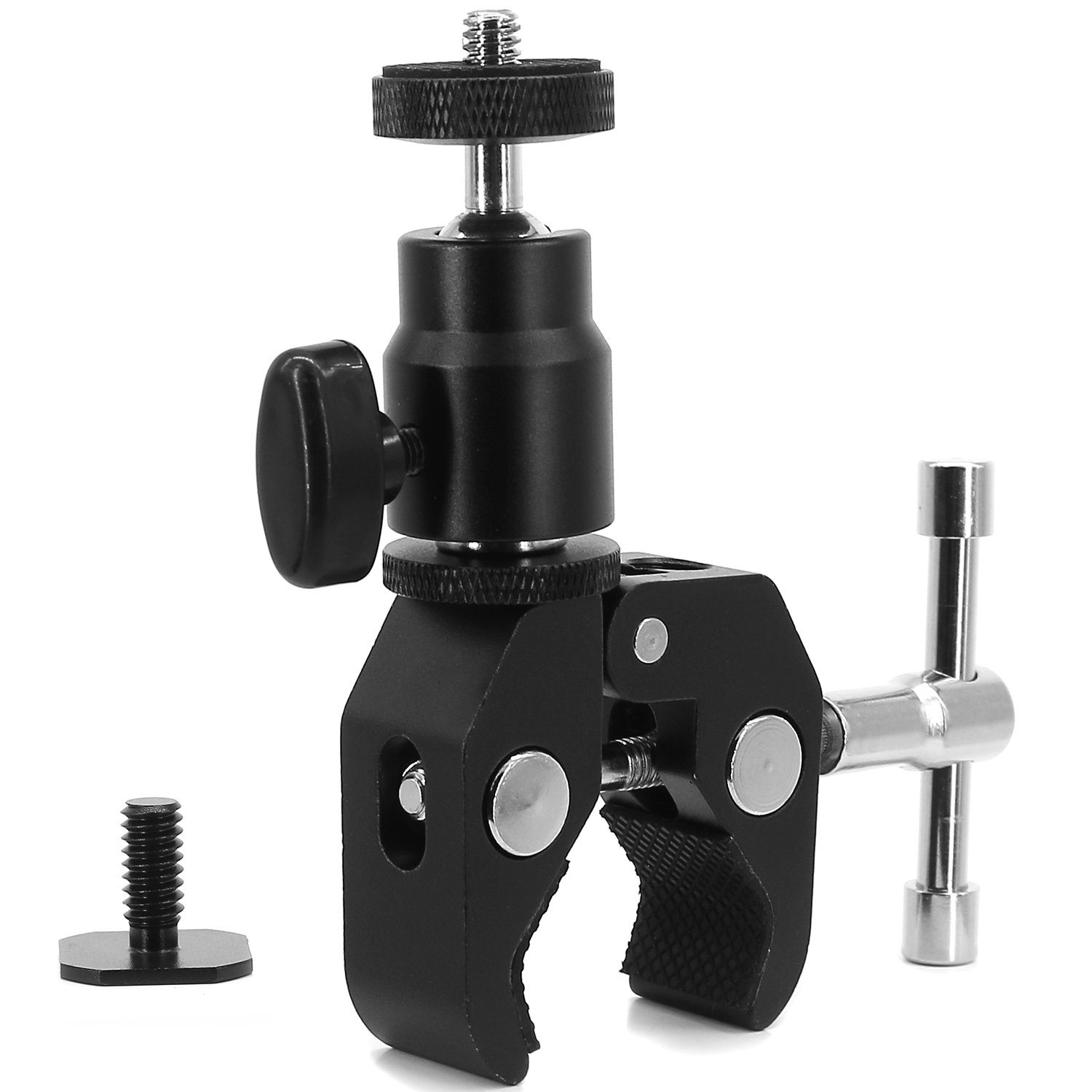 RivenAn Multi-Function Mini Ball Head with Lock and Hot Shoe Adapter Camera Cradle 1//4 Mount Adapter to Video Camcorder Hot Shoe for LCD Monitors