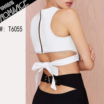 537b5917f3d White Designer Bow Tie Back Cut Out Crop Top Back Zipper - Buy ...