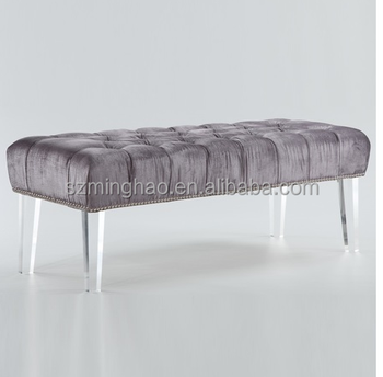 Stupendous Grey Velvet Tufted Acrylic Bed End Bench Buy Modern Bed Bench Clear Acrylic Bench Acrylic End Bench Product On Alibaba Com Uwap Interior Chair Design Uwaporg