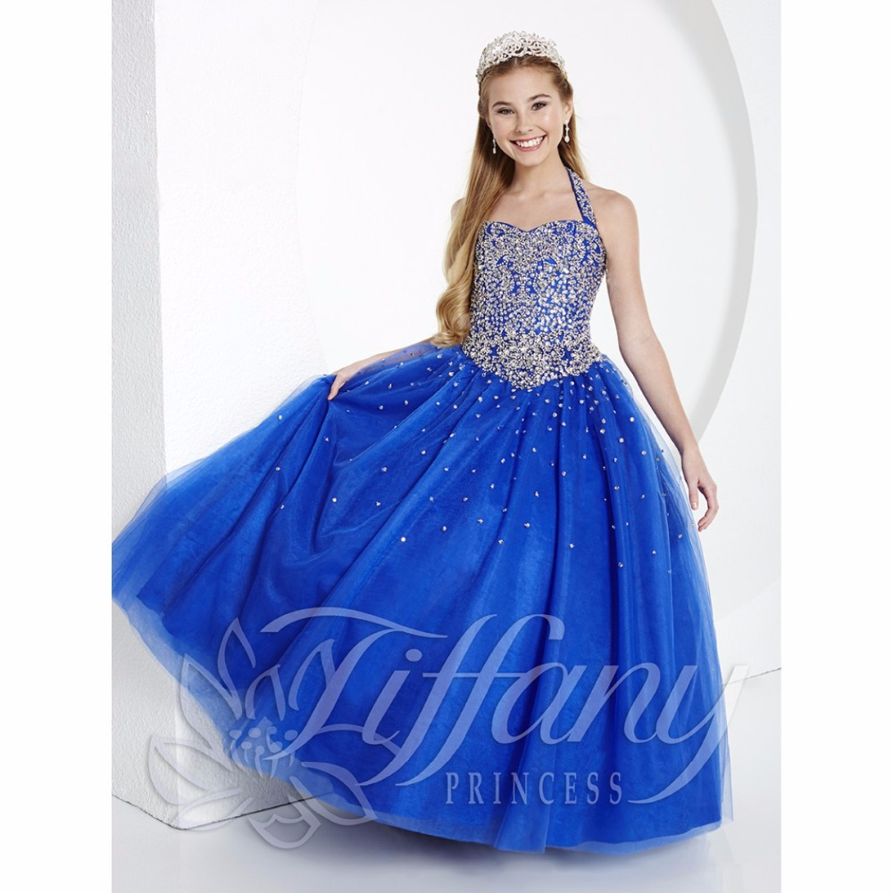 Buy 2015 new arrival royal blue girls pageant dress princess halter buy 2015 new arrival royal blue girls pageant dress princess halter heavy glitz beads flower girls formal occasion party ball gowns in cheap price on izmirmasajfo