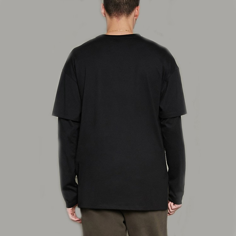 Pure Color Men Long Sleeve Black Shirt Oversized Double Layer ...