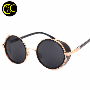 c2e246f97cab5 New Vintage Steampunk Designer Sunglasses Side Visor Circle Lens Round Sun  glasses Women Men Retro Glasses