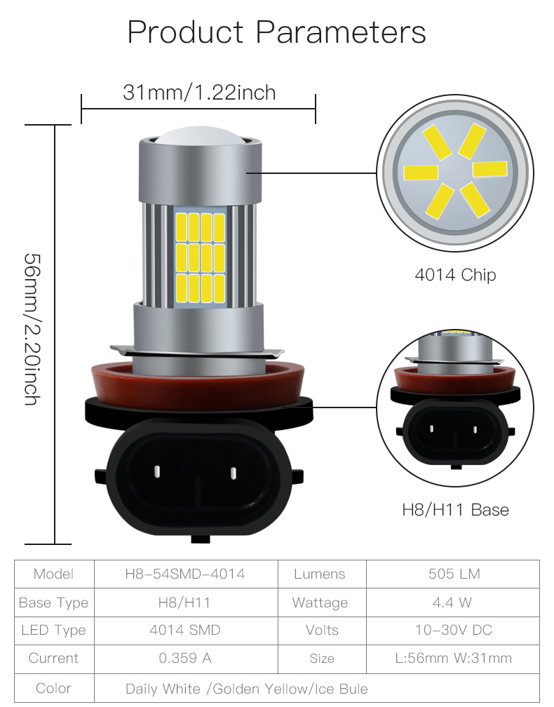 Durable Lamps H8/H11-54Smd-4014 Fog Light 12V Led Bulb