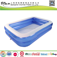 ICTI factory popular OEM outdoor child play 2 layers pvc rectangle swimming huge inflatable family pool