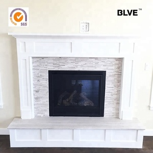 high quality hand carved room decorative white marble solid stone fireplace hearth FPL-034