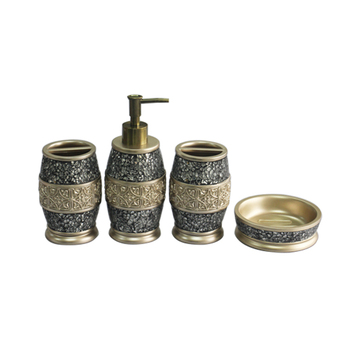 4 PCS Gold Crackle Mosaic Glass Bath Accessories Sets