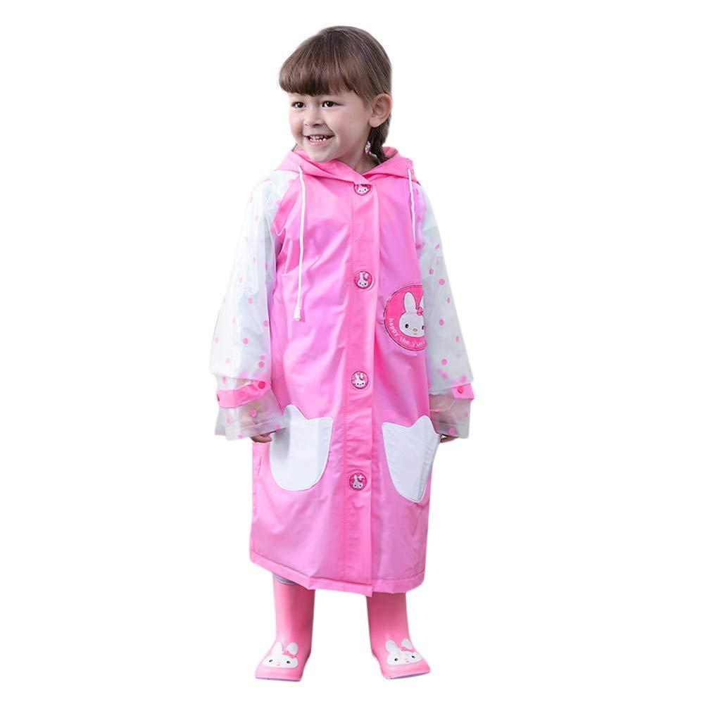 AutumnFall Raincoat for Kids Rain Jacket Age 18Months -6Years Cartoon Animal Shaped Lightweight Rainwear Rain Slicker for Baby Boys Girls (Age:4-5 Years, Pink)