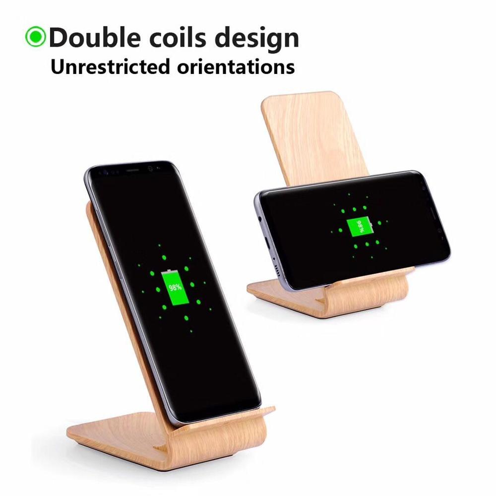 Light Qi fast Wireless chargeing Stand Light Wood 10W Quick Wireless Charger Station for Smartphone