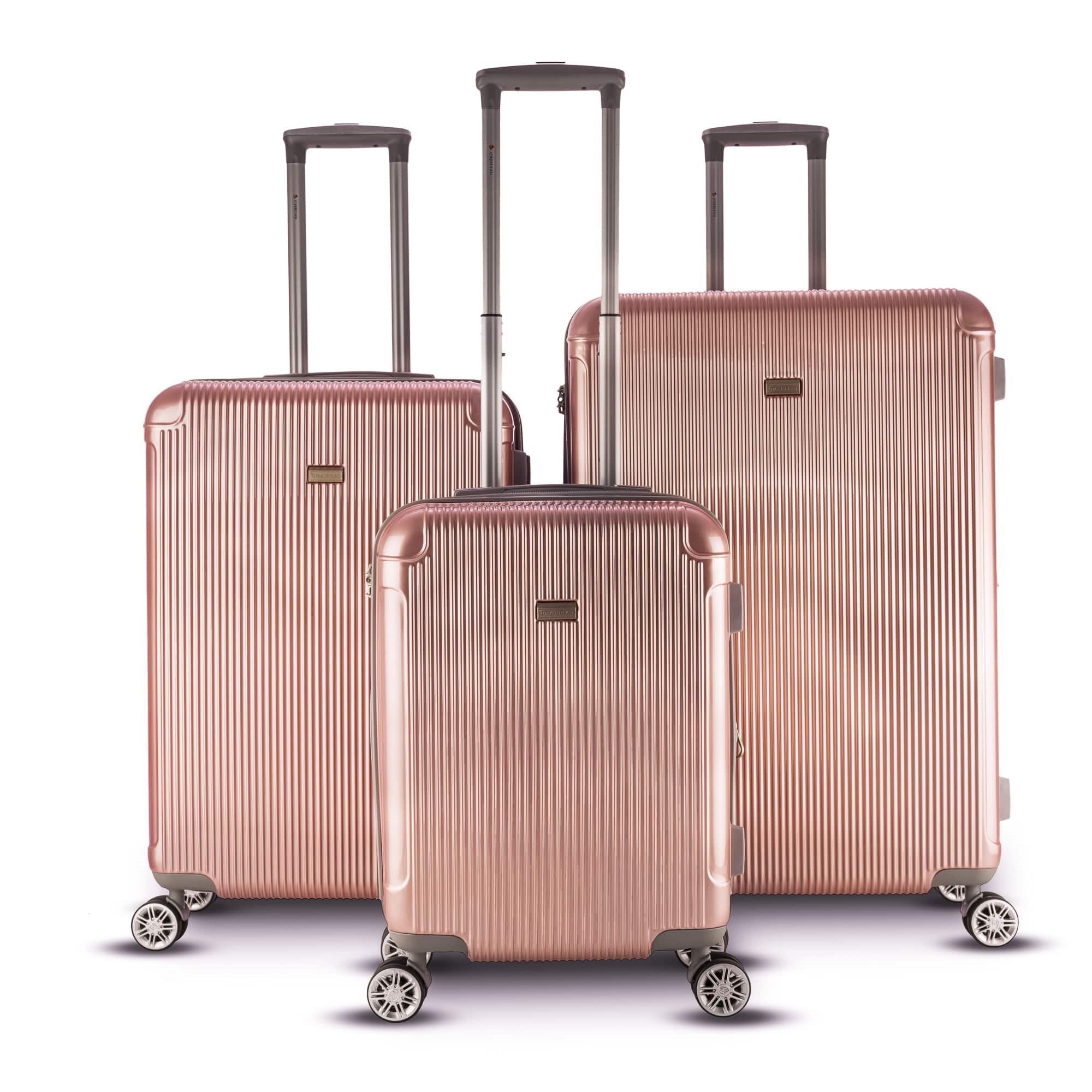 2533edfb4 Get Quotations · Solid Geometric Stripes Motif Spinner Lightweight  Expandable Carry On Luggage Set Suitcases, Vertical Lines Theme