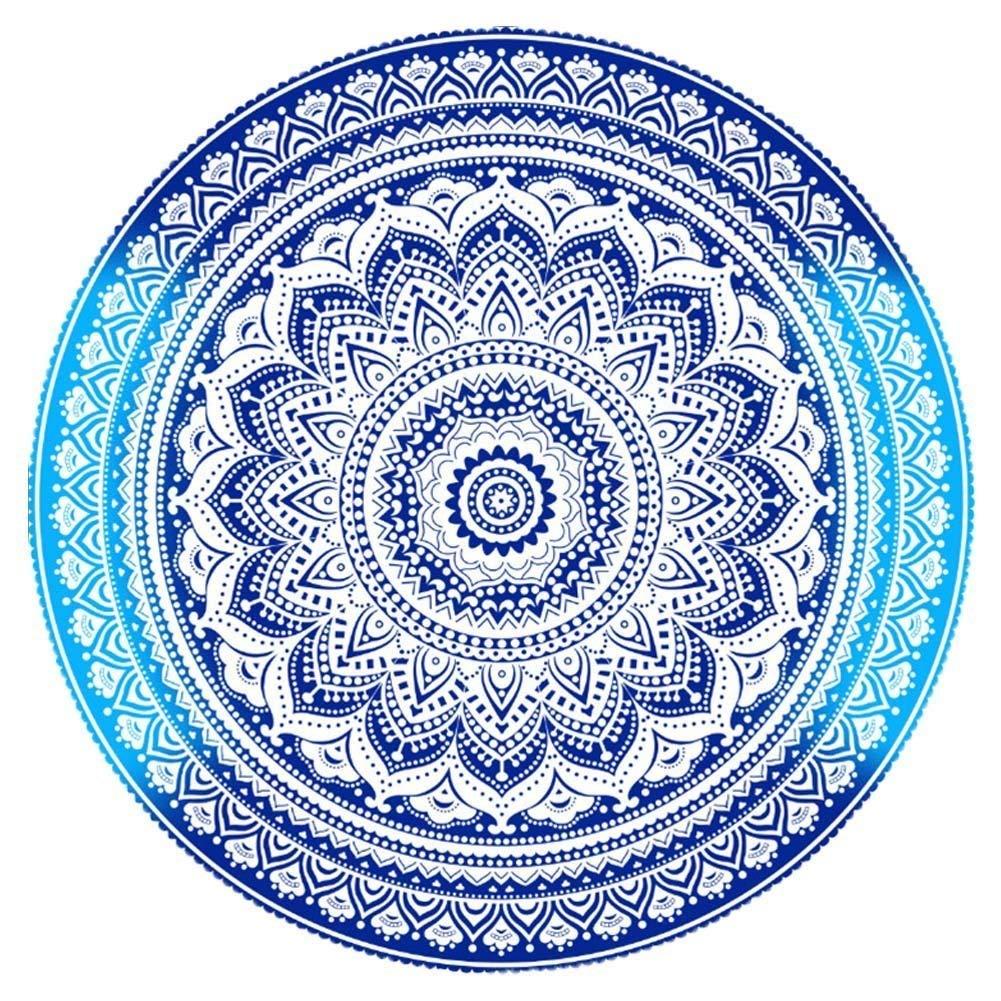 NALEDI Round Beach Towels Bohemian Style, Mandala Roundies, Beach Throw, Indian Mandala Tapestry, Yoga Mat, Picnic Mat, Table throw(blue)