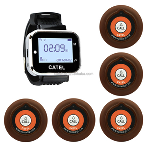 Quality 433.92MHz wireless wrist watch pager/calling system in a wireless way on sale, 1 watch receiver and 5 call buttons