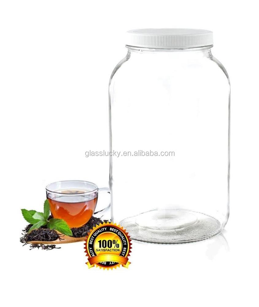 1 galones frasco de vidrio transparente con boca ancha y tapa de pl stico blanco para recipiente - Vidrio plastico transparente precio ...