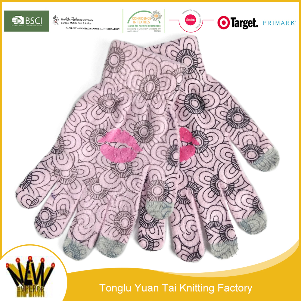 Colorful printing latest design touch screen mittens gloves