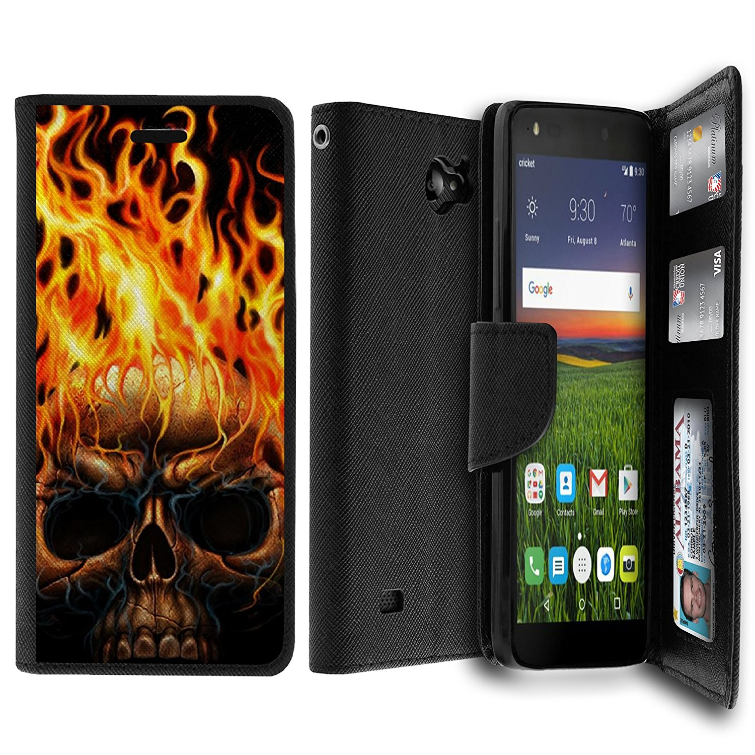 Untouchble Case for ZTE Majesty Pro Case, Majesty Pro Wallet Case Case [MAX WALLET] Wallet Cover Synthetic Wallet Case Interior TPU Case Money Slots ID Case - Skull on Fire