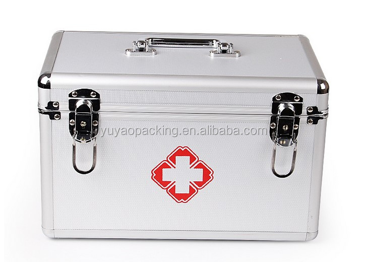 Household small aluminum alloy medical box for medical treatment of double-layer medical treatment of medical emergency medicine