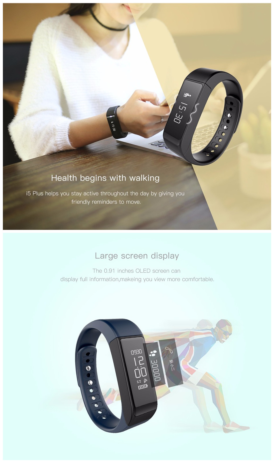 """I5 Plus Smart Wristband 0.91"""" OLED Touch Screen Fitness Tracker Watch Call Reminder Message Push Pedometer Smartband for Sports"""