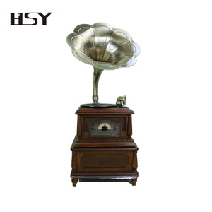 Home classic USB CD bluetooth antique gramophone player with brass horn