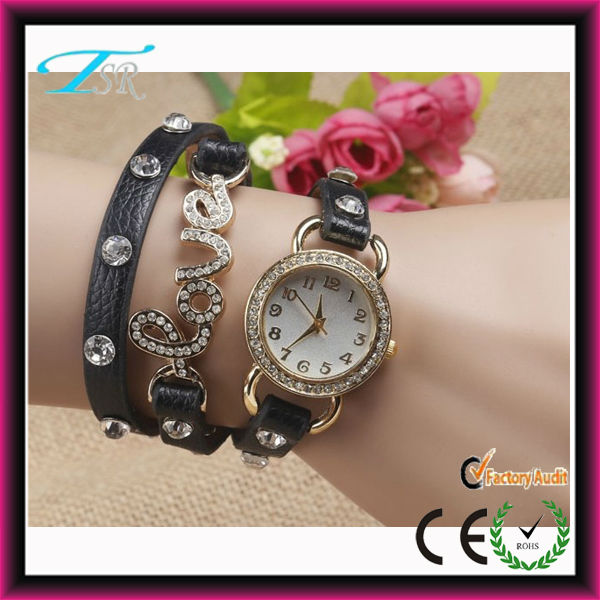 2014 newest products leather new design watches ladies girls bangle and bracelet watch