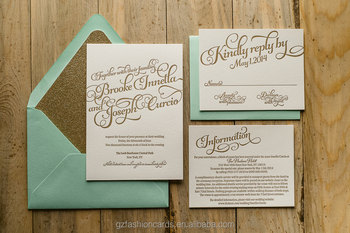 Mint Gold Wedding InvitationsGold Glitter InvitationsCalligraphy