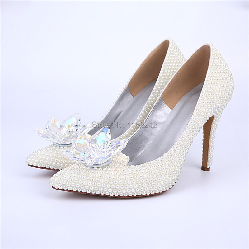 MA15 White Pearl Pointed Toe Wedding Party Shoes Cinderella's Slipper Crystals Dress Women Bridal Prom High Heels Shoes 2015 New