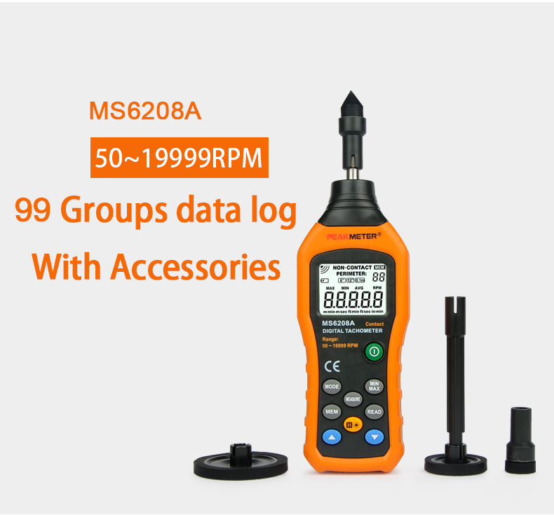 MS6208A 50 ~ 19999 rpm tacômetro medidor de rpm, tipo de contato tacômetro digital MS6208A com data logger