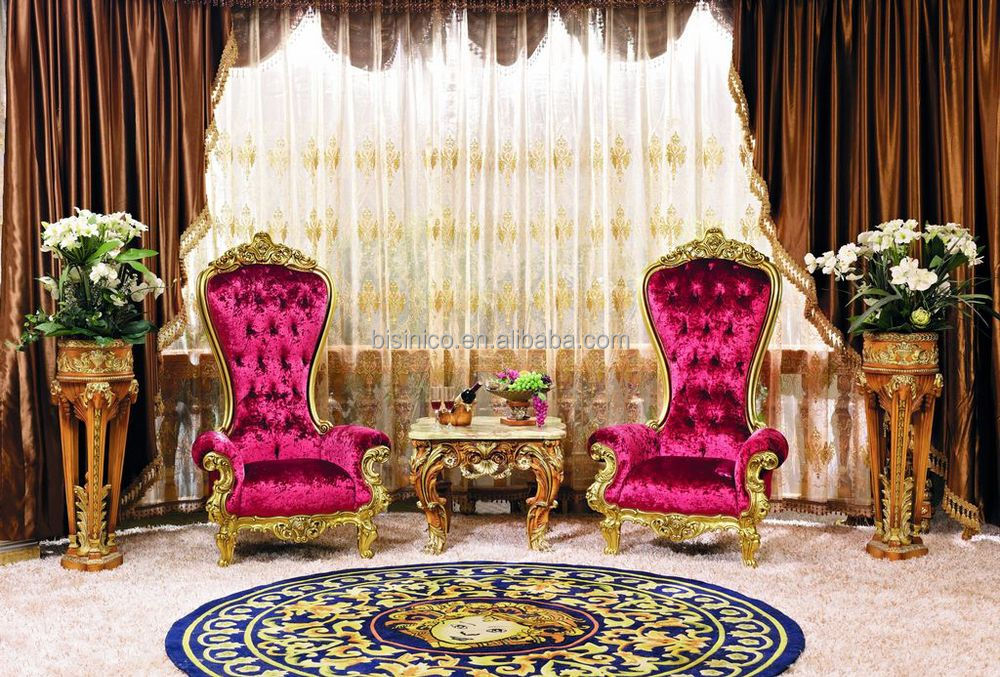 Luxury French Style Living Room Furniture Giltwood High Back Pink ...