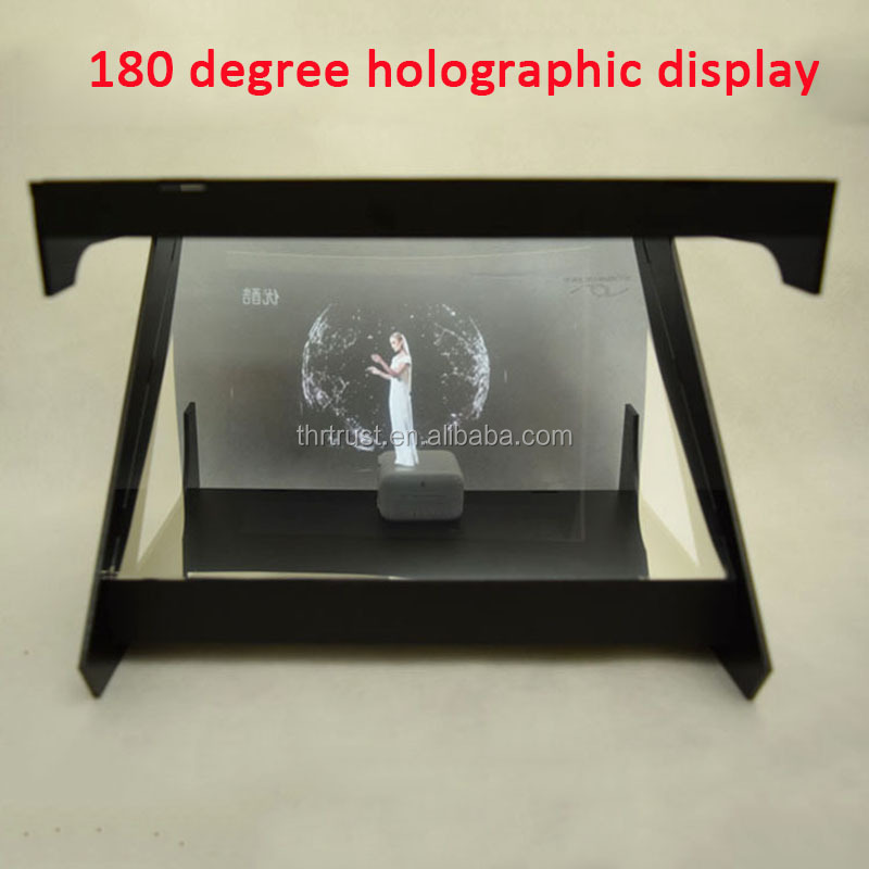 Hot Selling Hologram Technology 180 degree 3D Holographic Pyramid Display Showcase for Shopping Malls Advertising