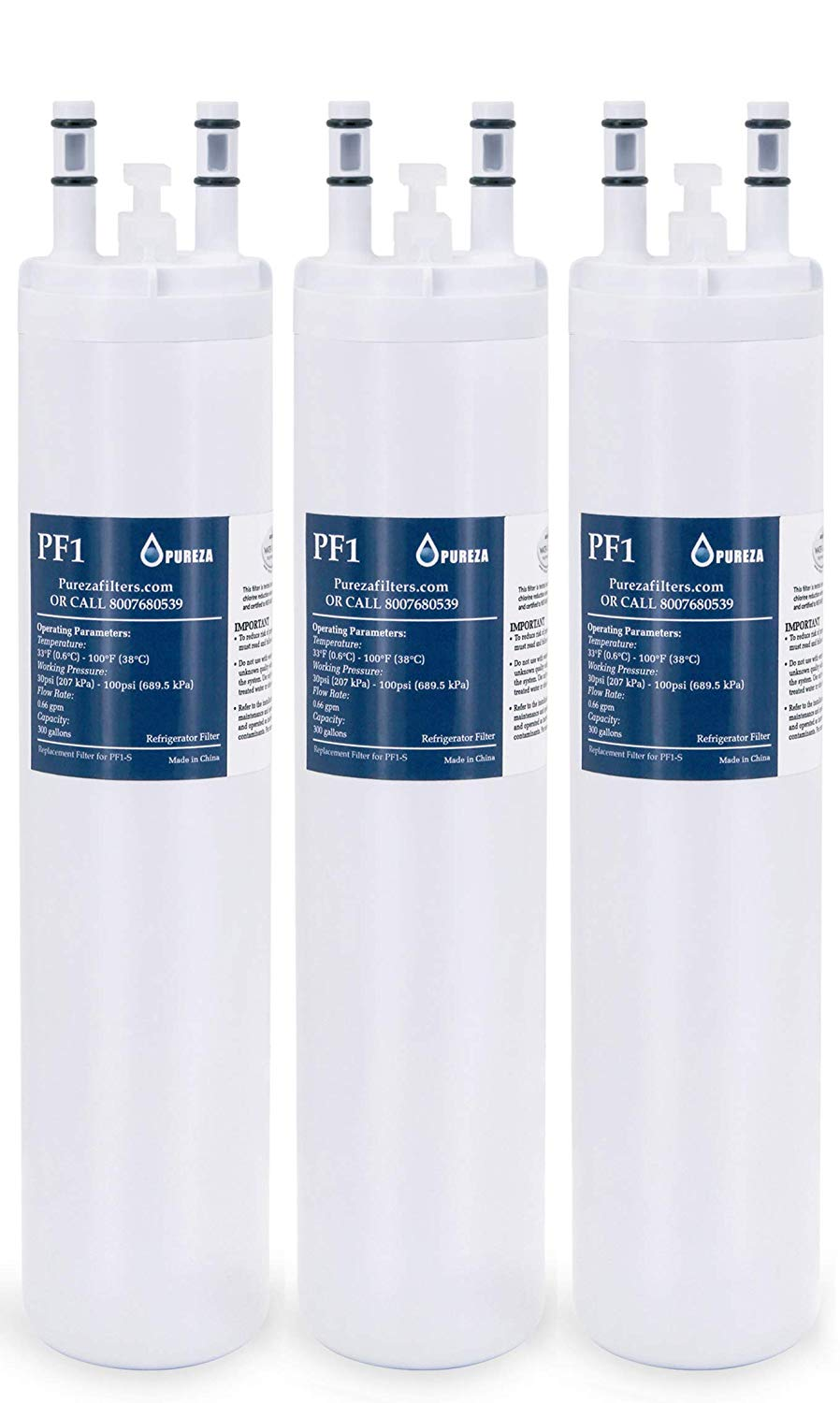 Pureza Water Filter - Compatible Cartridge For ULTRAWF Frigidaire Refrigerators & Ice Makers - Compatible with Puresource, Gallery, Professional Series Fridge and Some Electrolux Models - Pack of 3