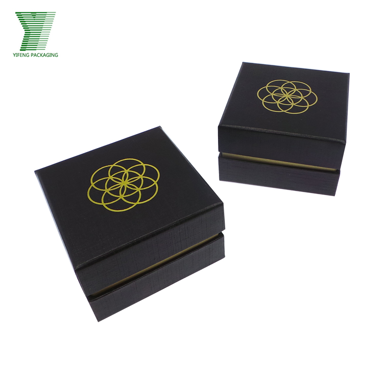 wholesale satin lined gift box luxury black packaging gold foil custom printing paper box